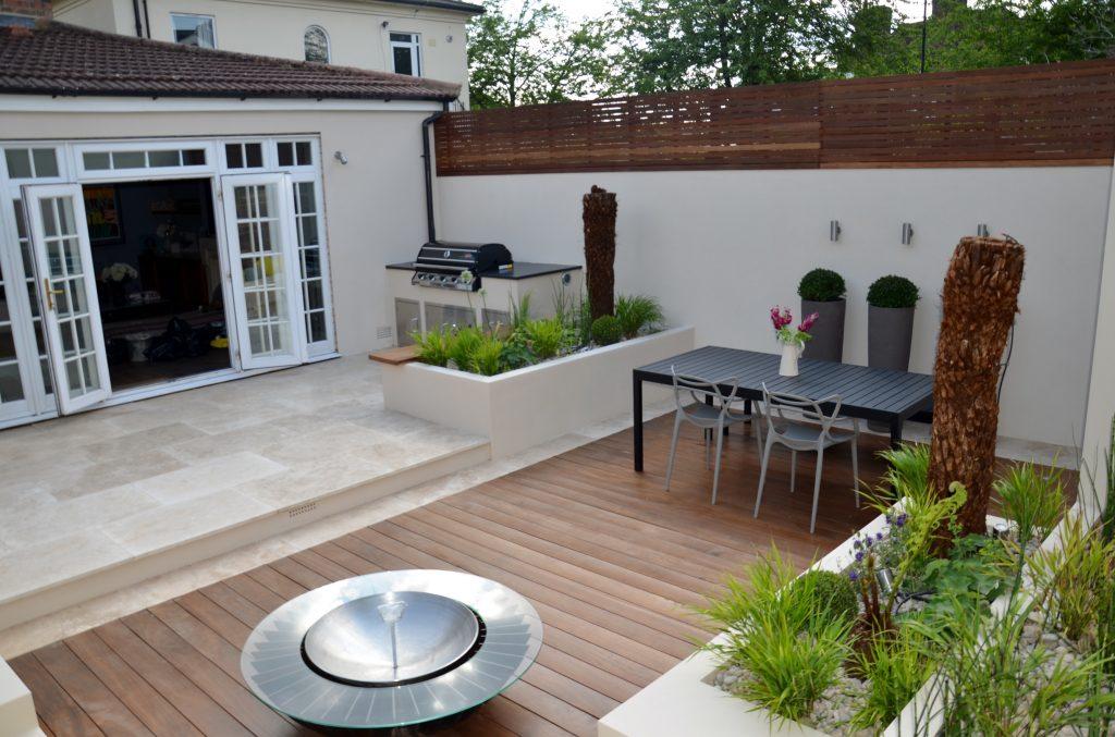 Modern Garden Design Outdoor Room With Kitchen Seating Hardwood Screen London Designer Cat