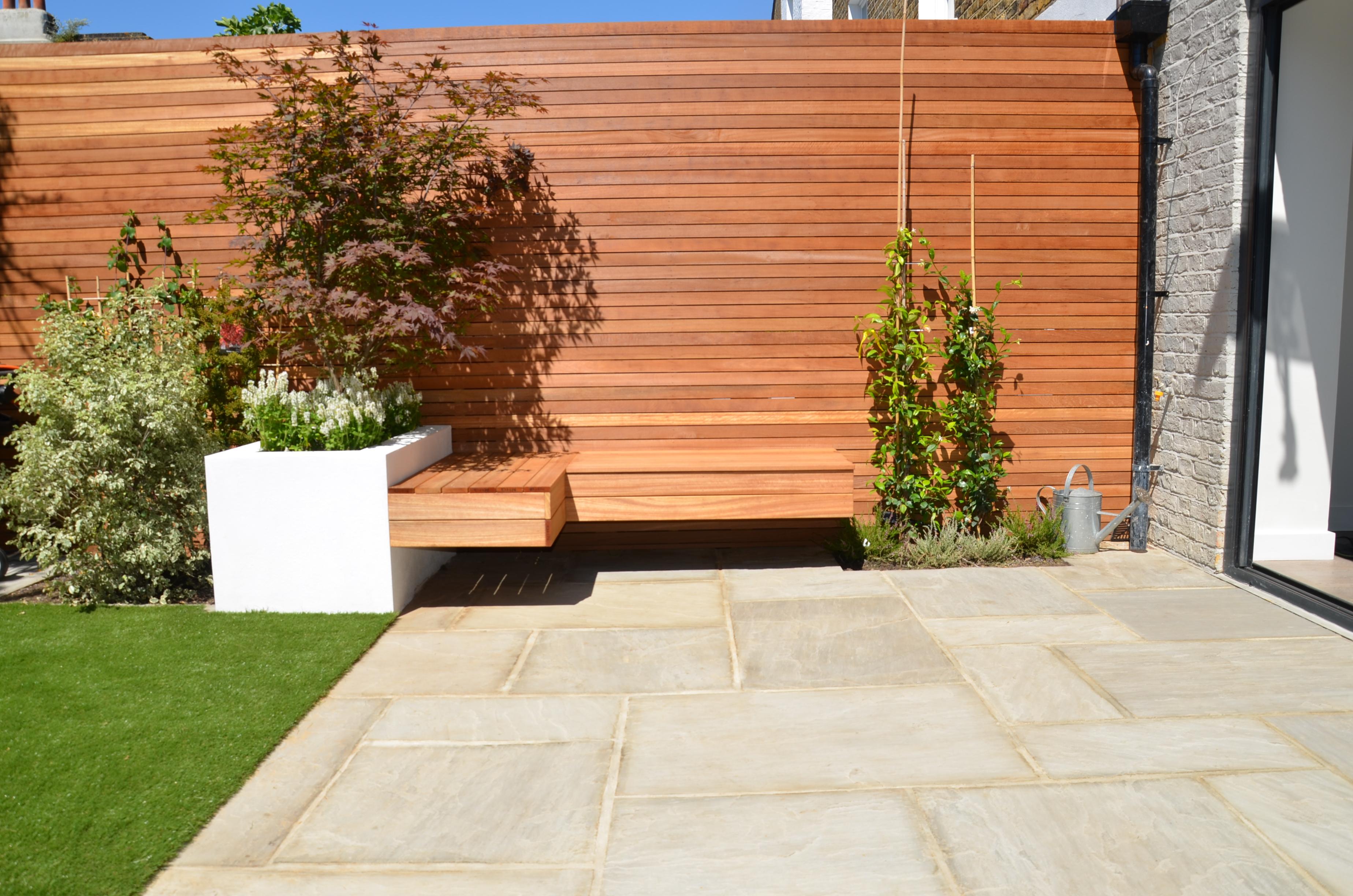 Modern Small Garden Design London Designer Hardwood Screen