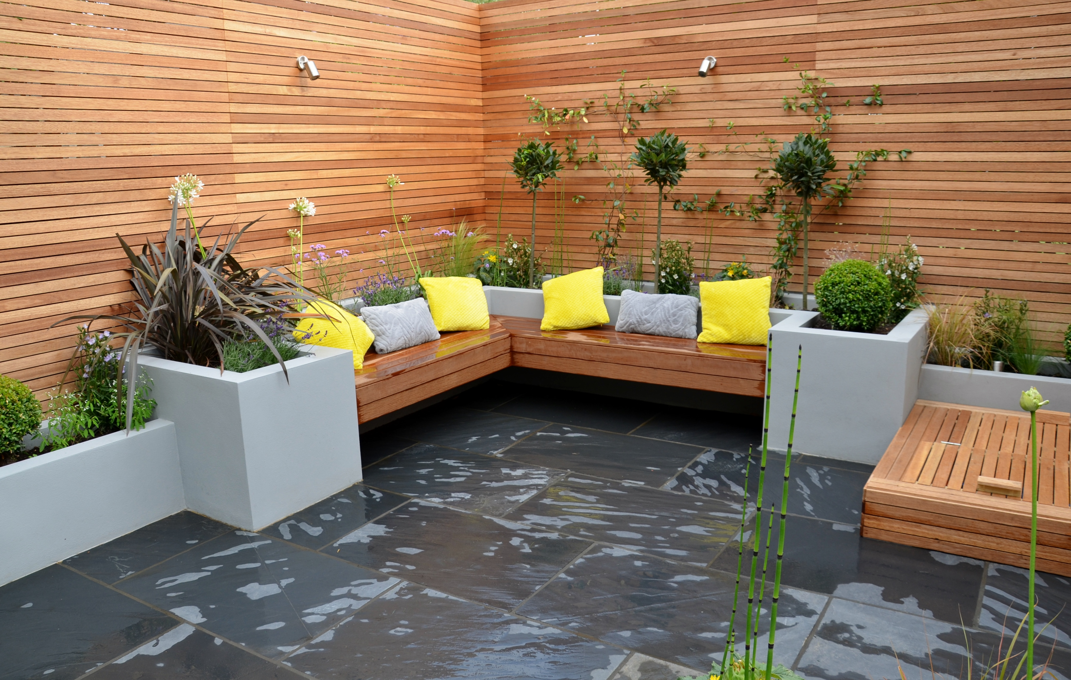 modern garden design raised plaster beds hardwood screen trellis fence bespoke storage stockwell west norwood tulse hill Top Result 50 Awesome Modern Outdoor Fireplace Picture 2018 Gst3