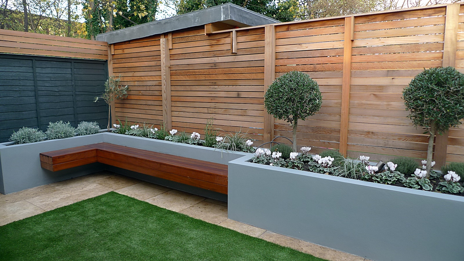 Modern Garden Design Small London Cedar Screen Grey Raised