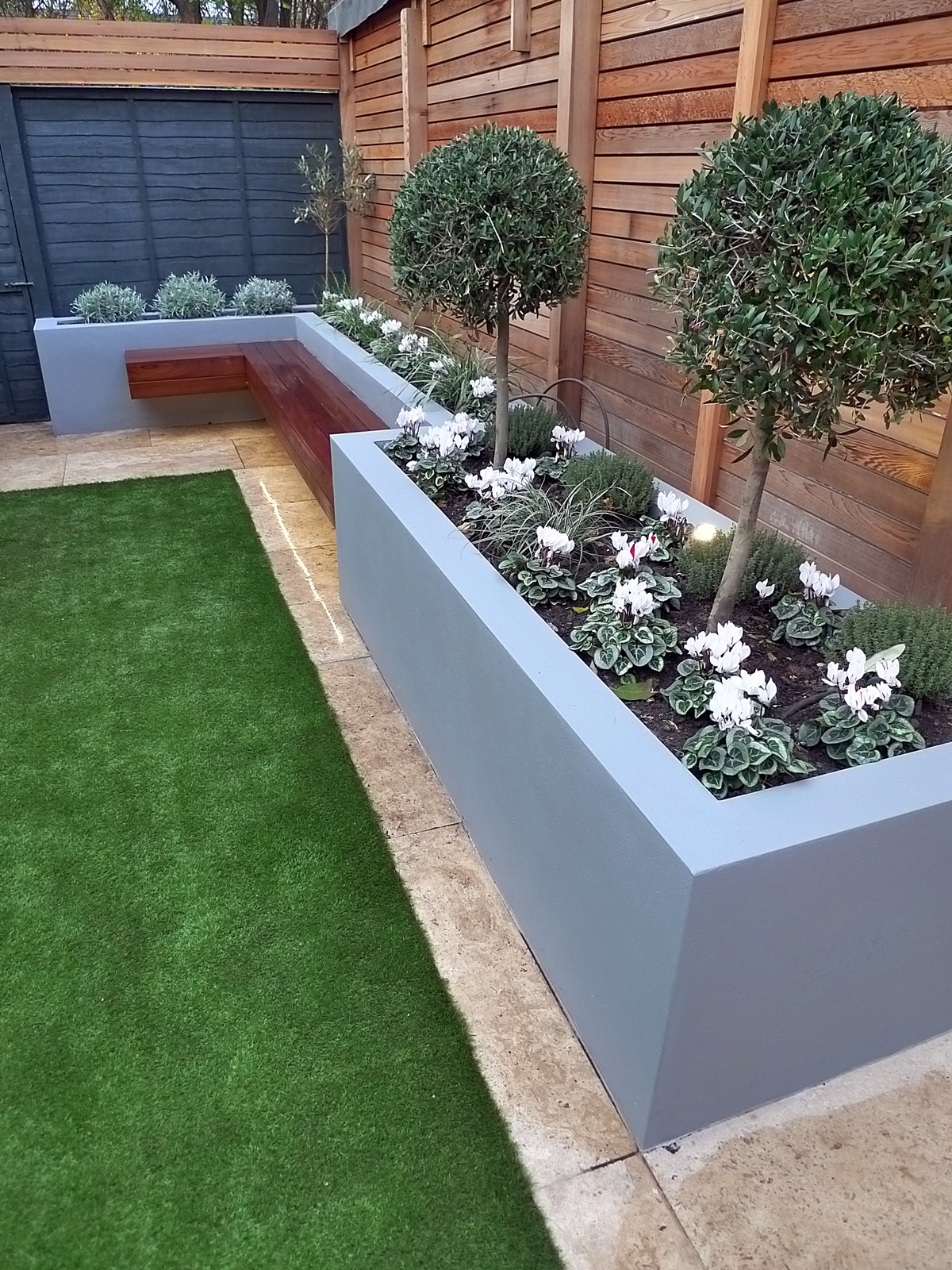 modern garden design small london cedar screen grey raised ... on Backyard Patio Layout id=28597