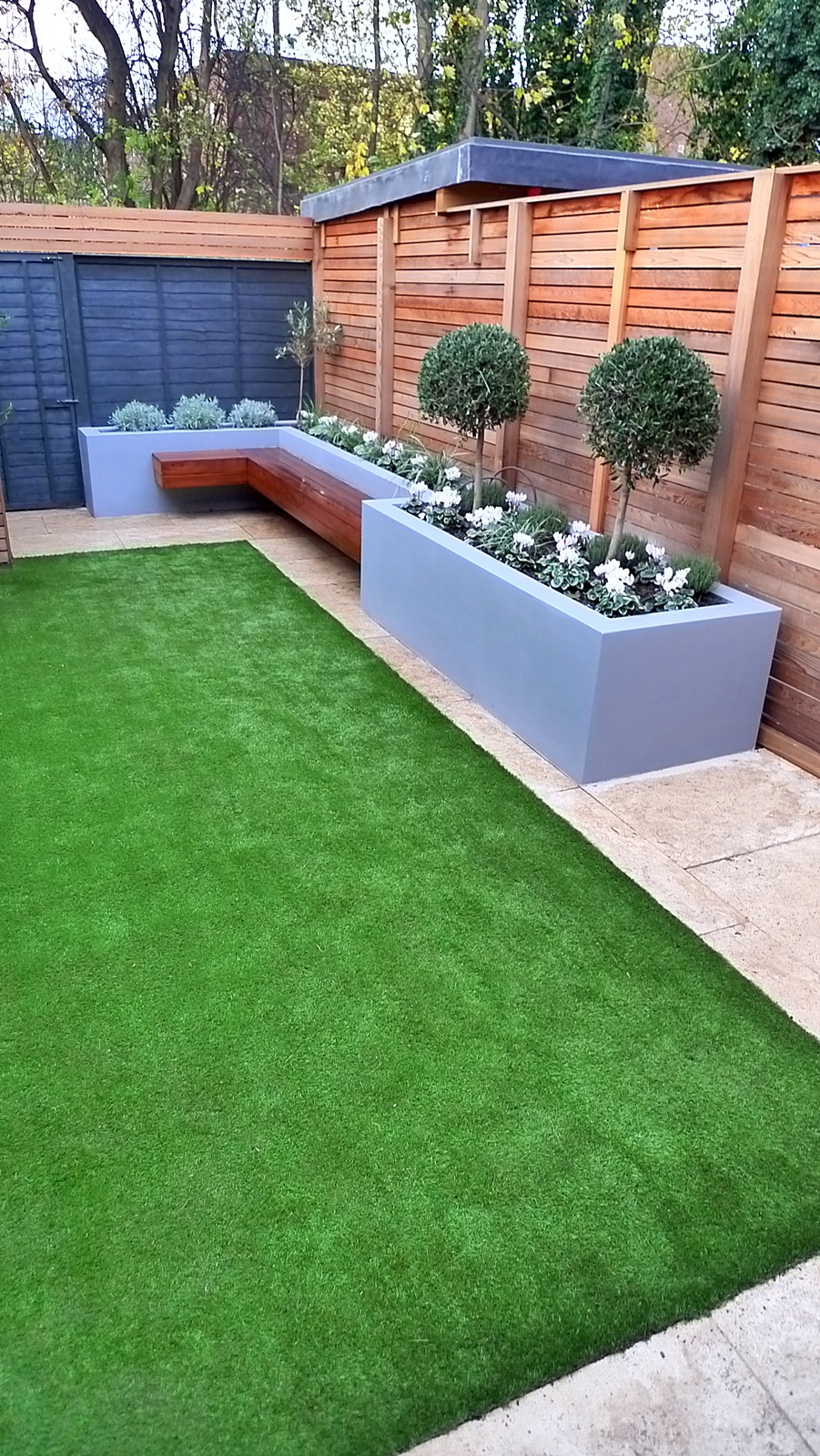 modern garden design small london cedar screen grey raised ... on Backyard Patio Landscaping id=89913