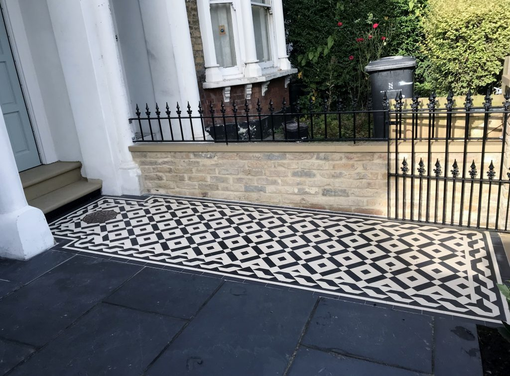 London victorian mosaic tile path london london garden for Victorian garden walls designs